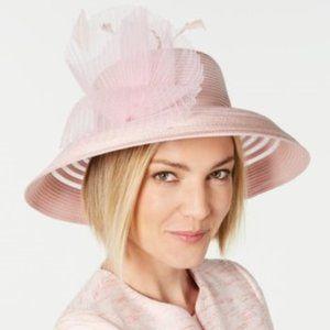 August Hats Sheer Stripe Romantic Hat Pale Pink